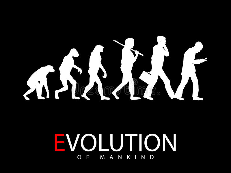 Evolutie van aap aan sociale media verslaafde vector illustratie