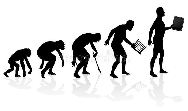 Evolutie van de Mens en Technologie stock illustratie