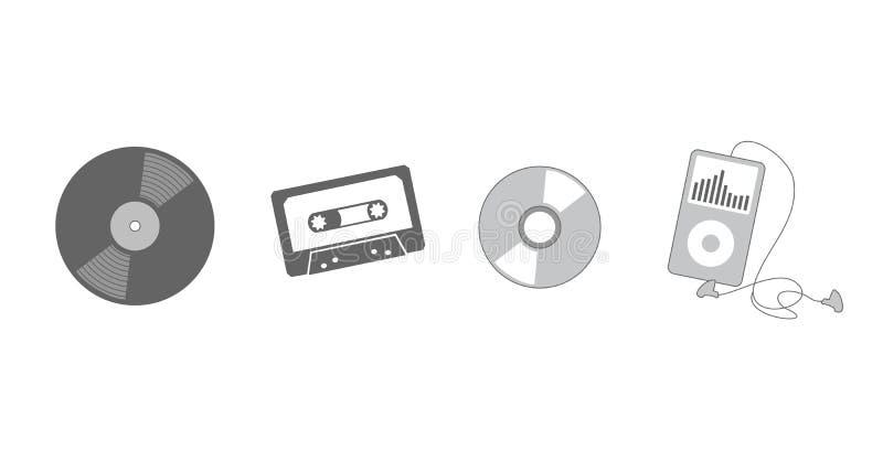 Evolutie van het luisteren aan muziek vector illustratie