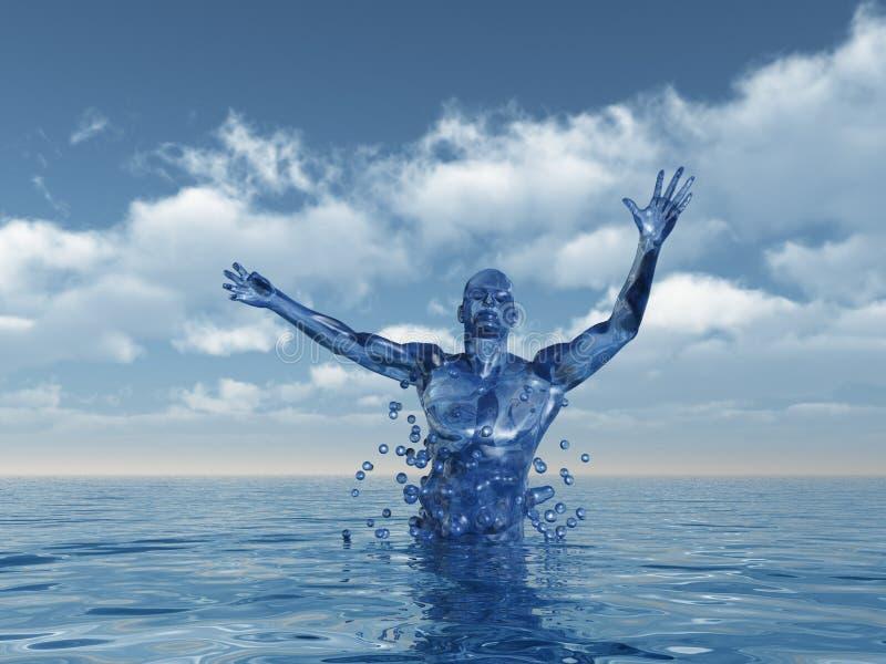 Evolution. Human figure ascend upward from water - 3d illustration royalty free illustration