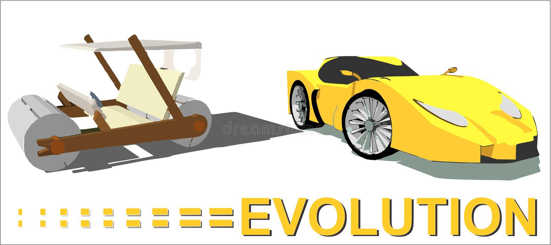 Evolution av bilen vektor illustrationer