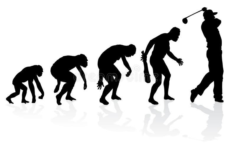 Evolution av en golfspelare royaltyfri illustrationer