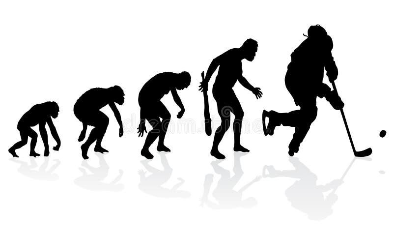 Evolution av ishockeyspelaren royaltyfri illustrationer