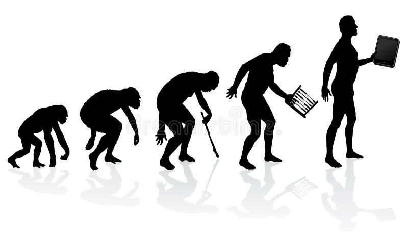 Evolution av mannen och teknologi stock illustrationer
