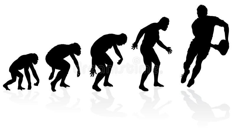 Evolution av rugbyspelaren royaltyfri illustrationer