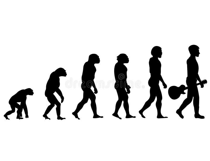 Evolution av spelaren för akustisk gitarr vektor illustrationer