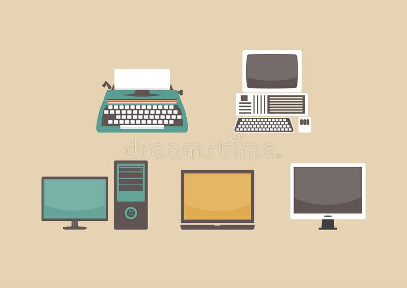 Evolution of computer. Former to present royalty free illustration