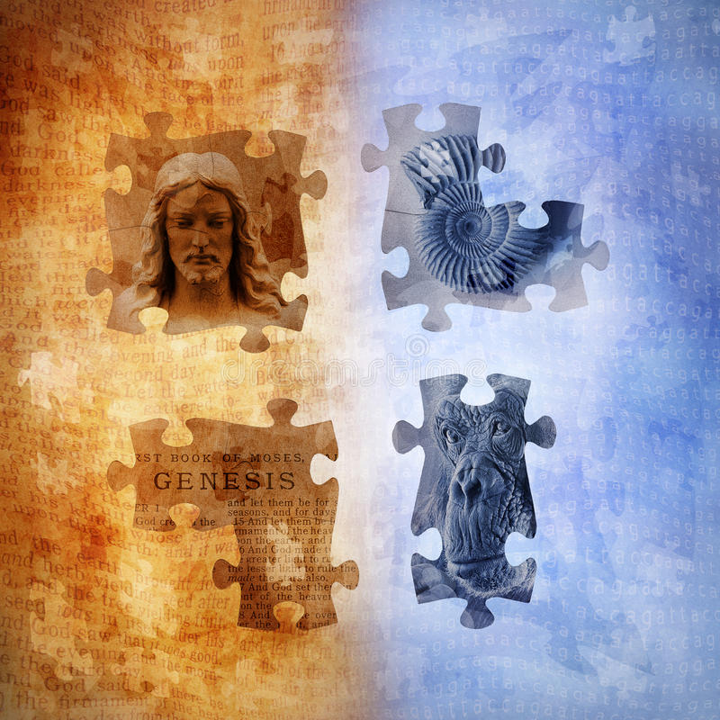 Evolution and Creationism. Graphic with jigsaw pieces of Christ, Genesis text, fossil and ape against a background combination of scripture text and human stock illustration