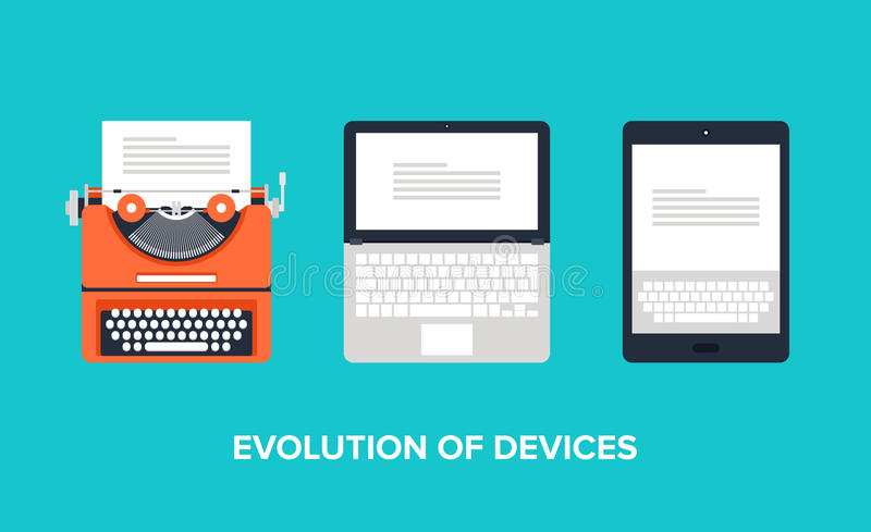 Evolution of devices. Flat vector illustration of evolution of devices from typewriter to laptop and tablet