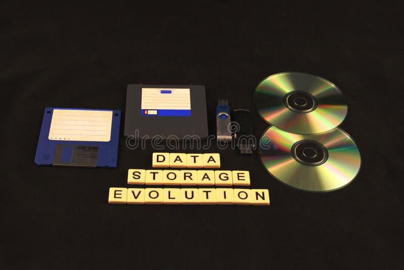 Evolution för datalagring som stavas ut i tegelplattor på en svart bakgrund under ett sortiment av lagringsapparater royaltyfria foton