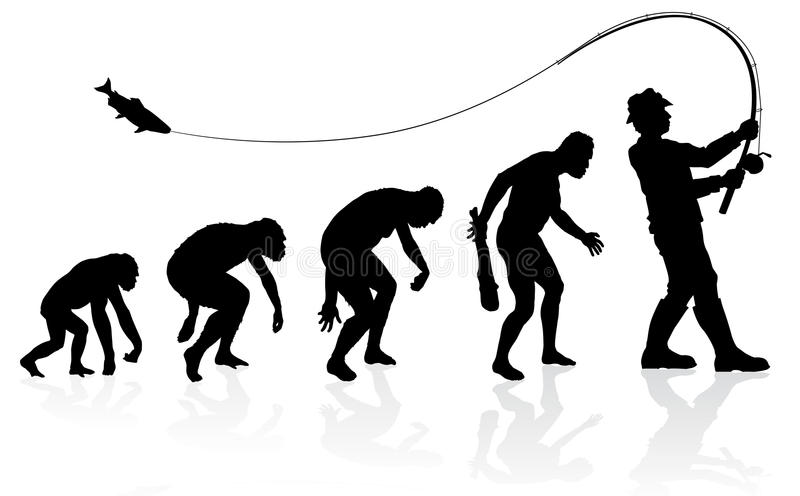 Evolution of the Fisherman. Great illustration of depicting the evolution of a male from ape to man to Fisherman in silhouette royalty free illustration