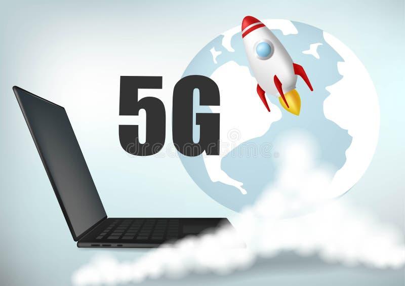 evolution 5G Starta upp raket R?kmoln Hastighetsbegrepp för trådlöst nätverk, bakgrundsblueb?rbar dator Realistisk vektor vektor illustrationer