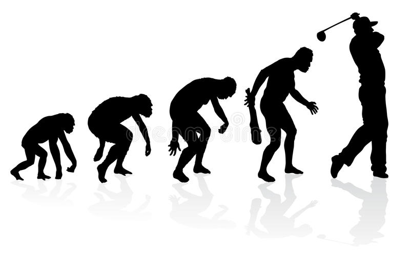 Evolution of a Golf Player. Illustration of depicting the evolution of a male from ape to man to Golf player in silhouette royalty free illustration