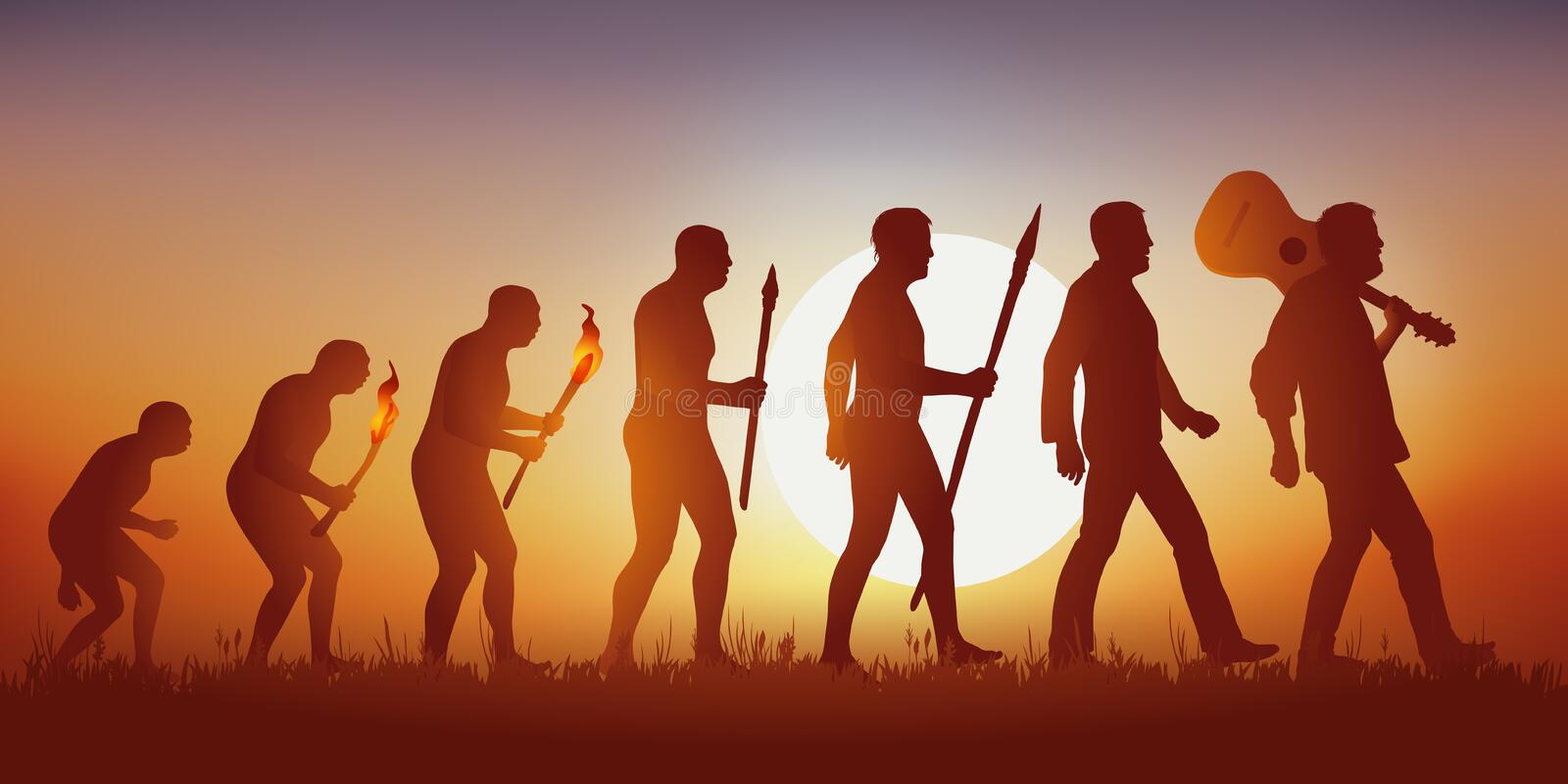 The evolution of humanity according to Darwin halted in its advance by an authoritarian man. royalty free illustration