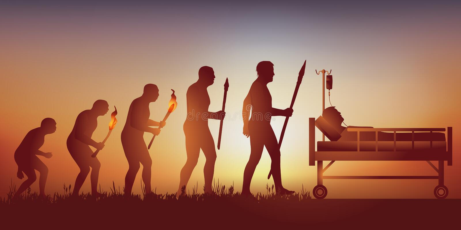 Evolution concept to symbolize the coronavirus epidemic with a man lying on a hospital bed. royalty free stock photo