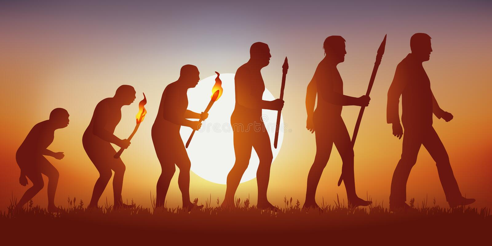 Theory of evolution of the human silhouette of Darwin. stock illustration
