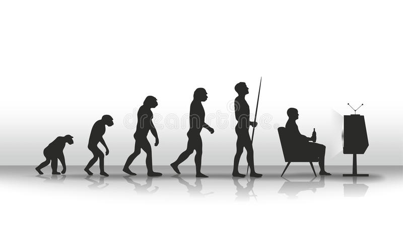 Evolution. Human evolution ending with sitting in front of TV royalty free illustration