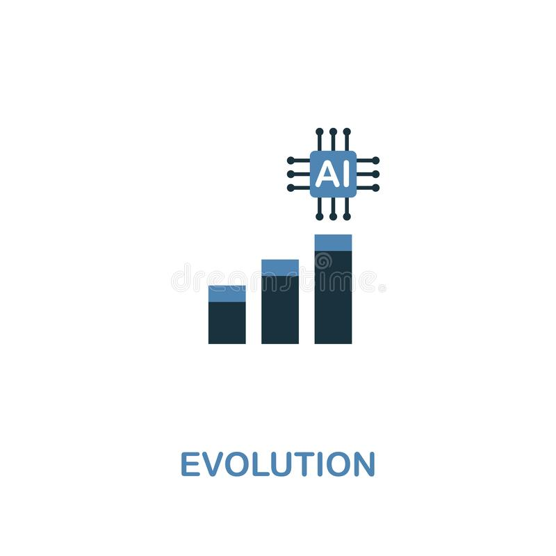 Evolution icon in two colors design. Premium style from artificial intelligence icon collection. UI and UX. Pixel vector illustration