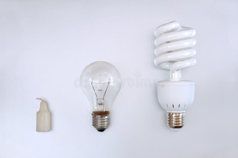 Evolution of illumination royalty free stock photos