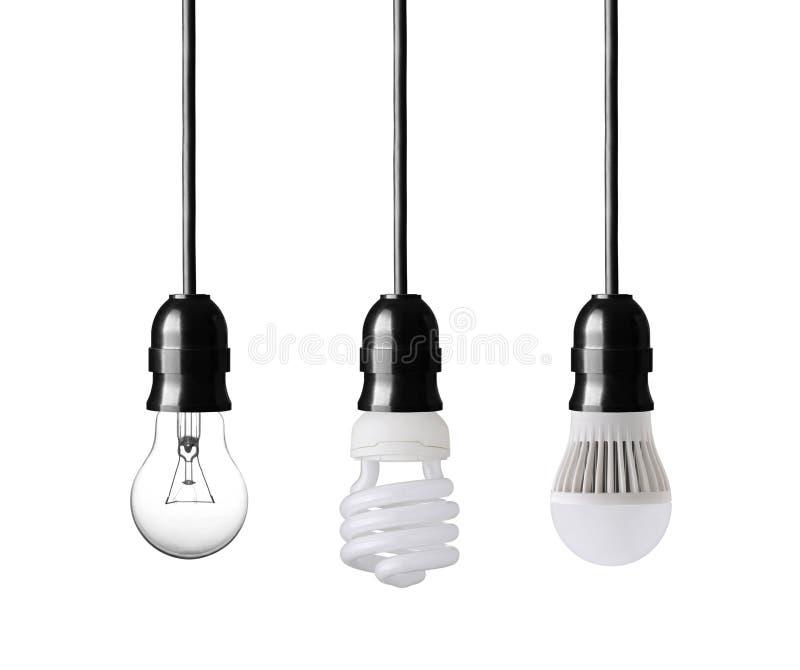 Evolution of light bulbs stock photography
