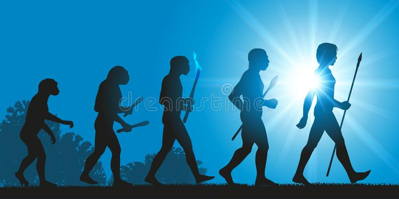 The evolution of man through the ages royalty free illustration