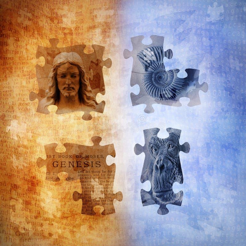 Evolution och Creationism stock illustrationer