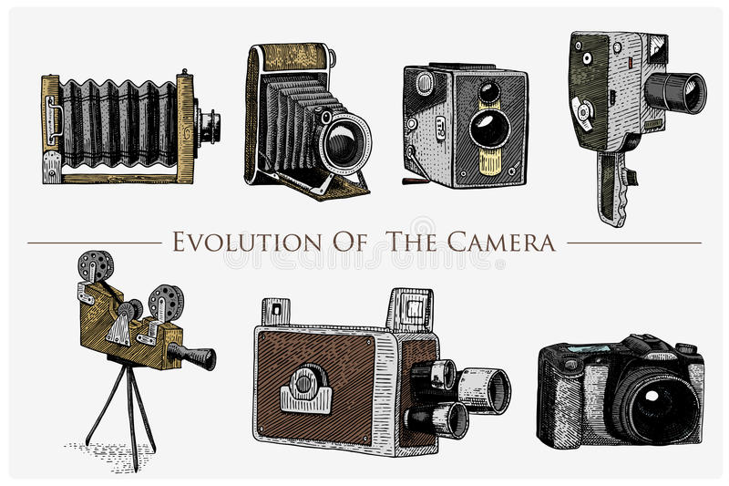 Evolution of the photo, video, film, movie camera from first till now vintage, engraved hand drawn in sketch or wood cut royalty free illustration