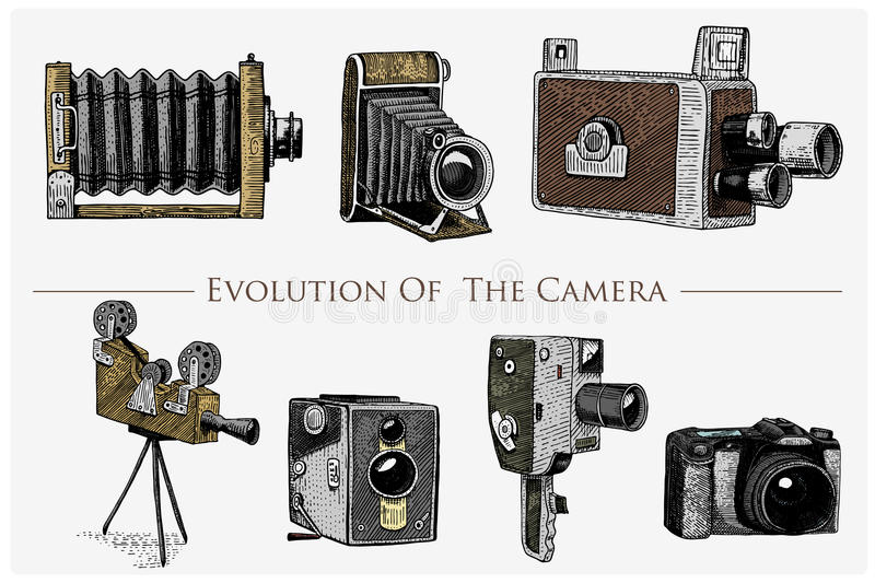 Evolution of the photo, video, film, movie camera from first till now vintage, engraved hand drawn in sketch or wood cut stock illustration