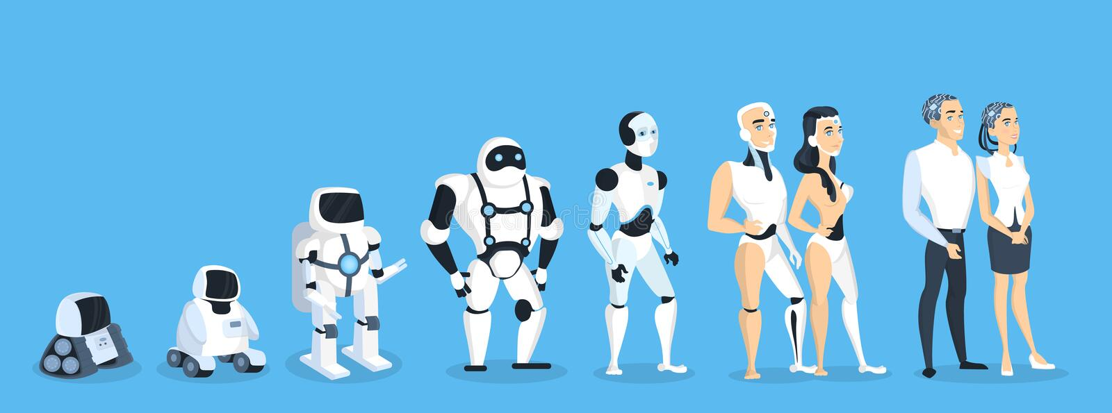 Evolution of robots. royalty free illustration