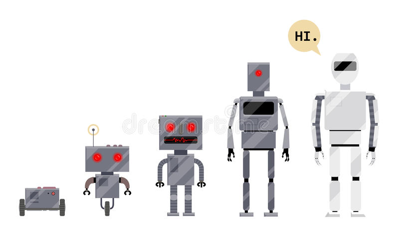 Evolution of robots, stages of android development. Cartoon vector illustration isolated on white background. Evolution of robots from simple metal box royalty free illustration