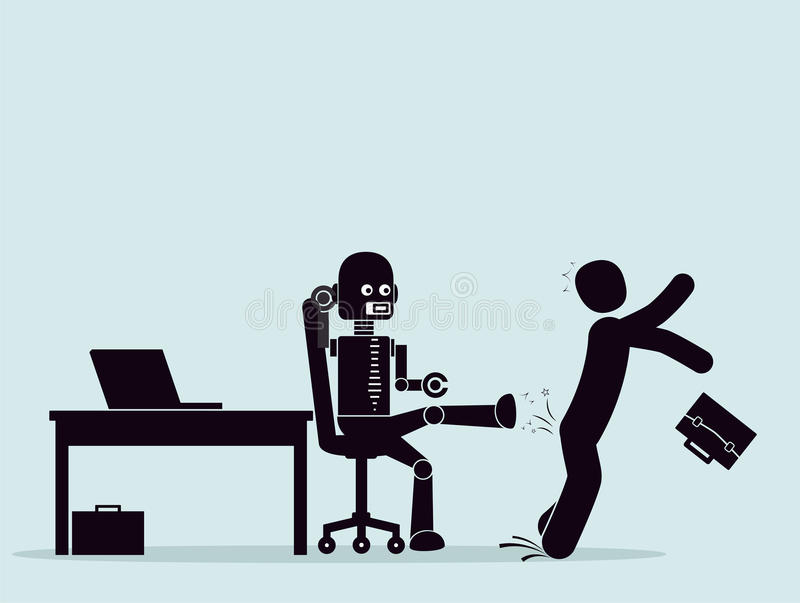 Evolution of robots, struggle for a place at work. Automation of business processes. Robot expels the employees business from the workplace. Concept of stock illustration