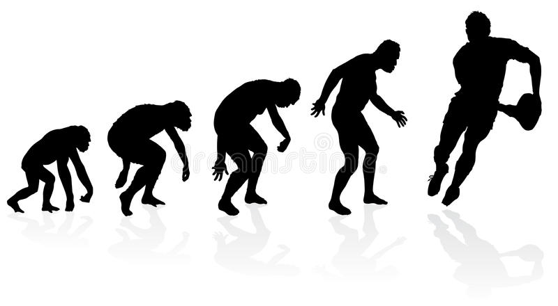 Evolution of the Rugby Player. Great illustration of depicting the evolution of a male from ape to man to Rugby Player in silhouette royalty free illustration