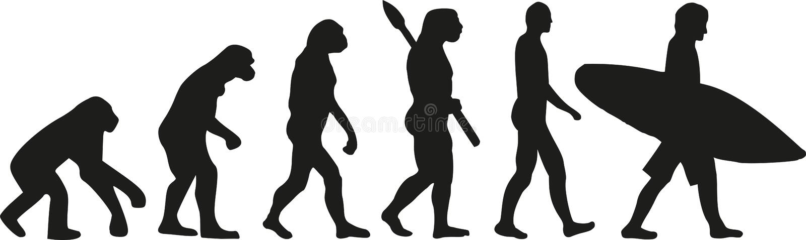 Evolution surfer. Vector sports icon royalty free illustration