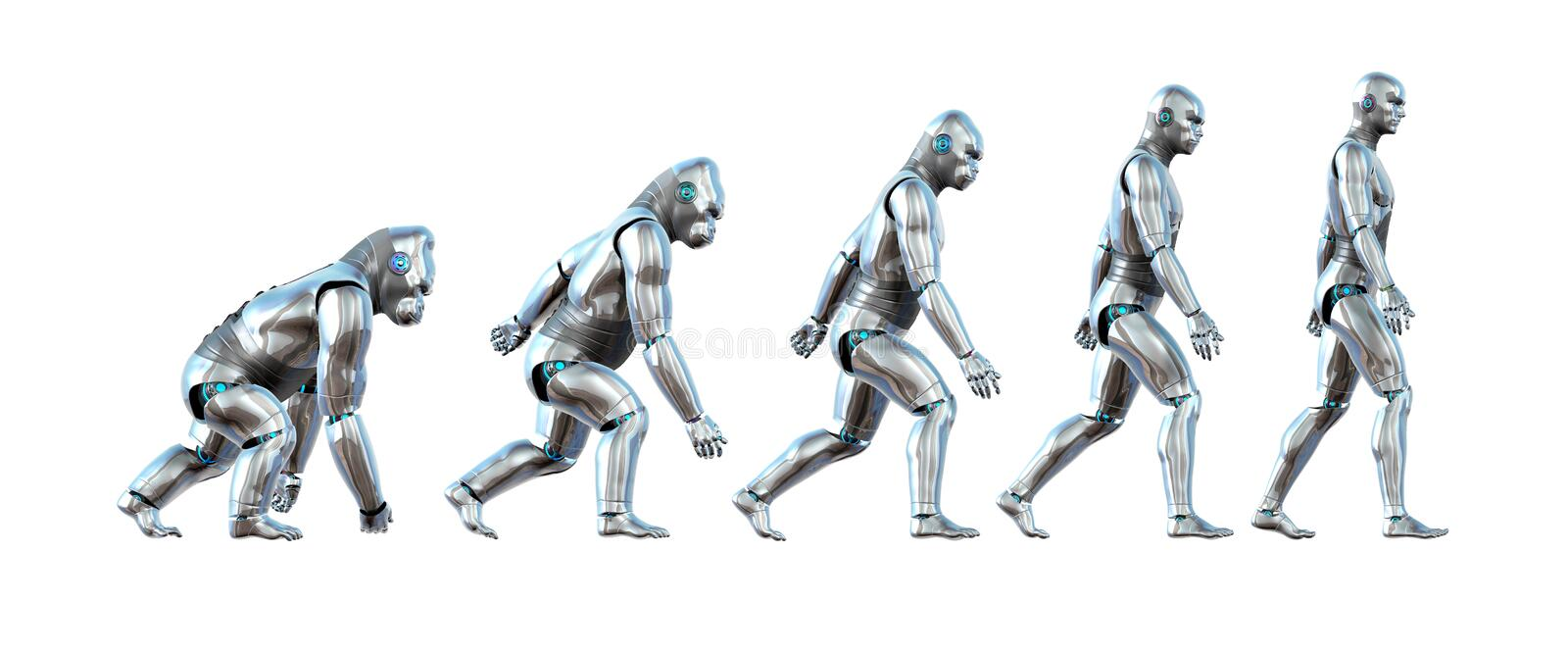 The Evolution of Technology. A chart showing the progression of a robot ape evolving into a robot human - 3D renders vector illustration