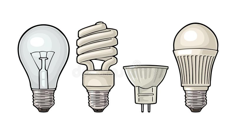 Evolution type electric lamp. Incandescent bulb, halogen, cfl and led. Evolution type electric lamp. Light incandescent bulb, halogen, cfl and led. Vector royalty free illustration