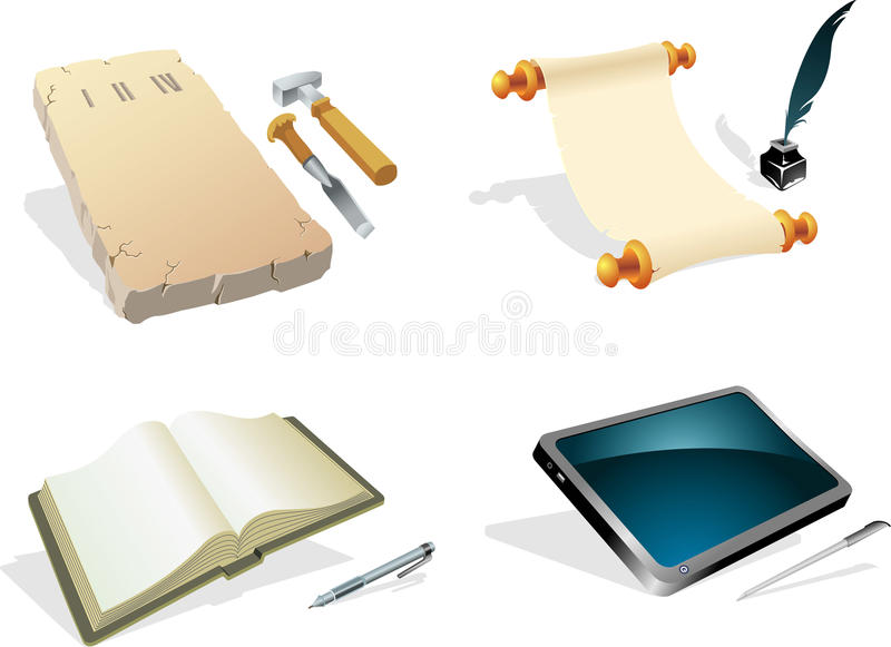 Evolution - Writing Instrument. Collection of old to modern writing equipment, properly grouped elements. Traced from my hand drawn sketch, with high resolution stock illustration
