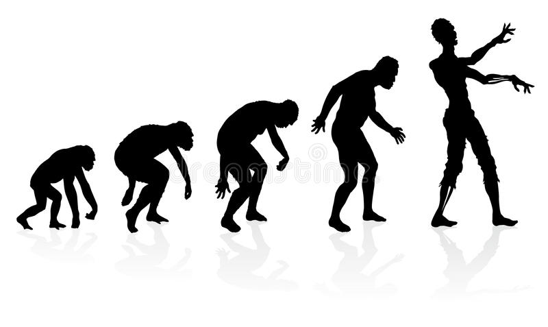 Evolution of the Zombie. Great illustration depicting the evolution of a male from ape to man to Zombie in silhouette stock illustration