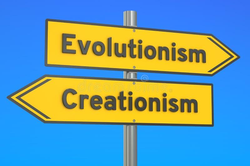 Evolutionism gegen Kreationismuskonzept auf dem Wegweiser, renderin 3D lizenzfreie abbildung