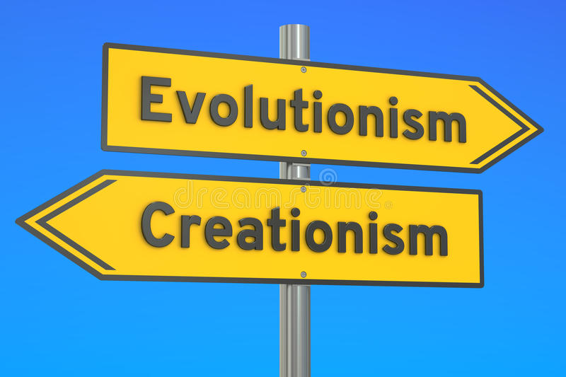 Evolutionism vs creationism concept on the signpost, 3D rendering. Evolutionism vs creationism concept on the signpost royalty free illustration