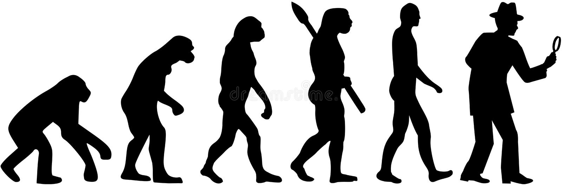 Evolutionkriminalarevektor vektor illustrationer