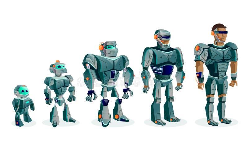 Evoluzione dei robot, progresso tecnologico royalty illustrazione gratis
