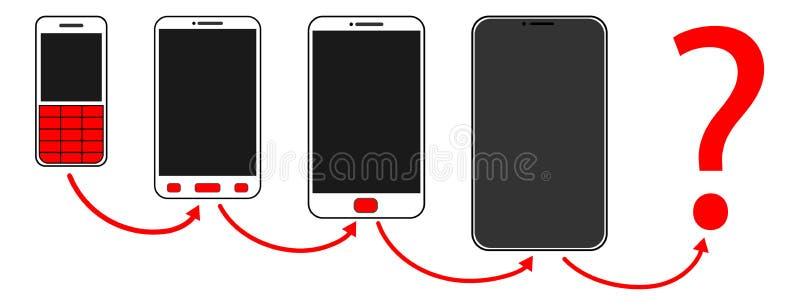 evoluzione del bottone del telefono cellulare royalty illustrazione gratis