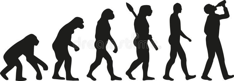 Evoluzione dell'uomo bevente illustrazione vettoriale
