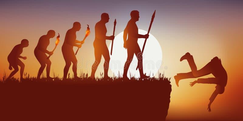 Evoluzione di umanit? secondo il Darwin che si conclude con l'estinzione delle specie umane illustrazione vettoriale