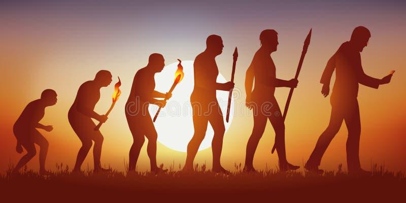 Evoluzione di umanità verso da un mondo hyperconnected e guidato da sociale illustrazione di stock