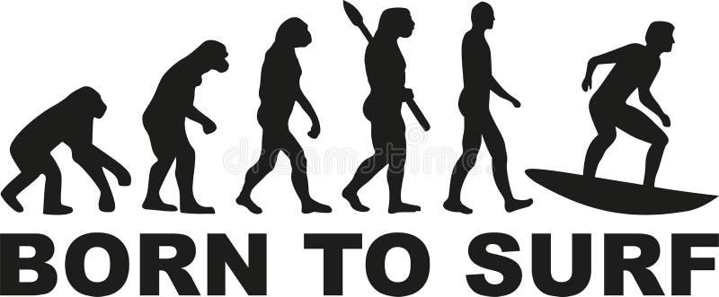 Evoluzione praticante il surfing - sopportata per praticare il surfing illustrazione vettoriale