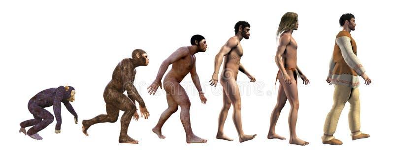 Evoluzione umana nella storia, illustrazione 3d illustrazione di stock