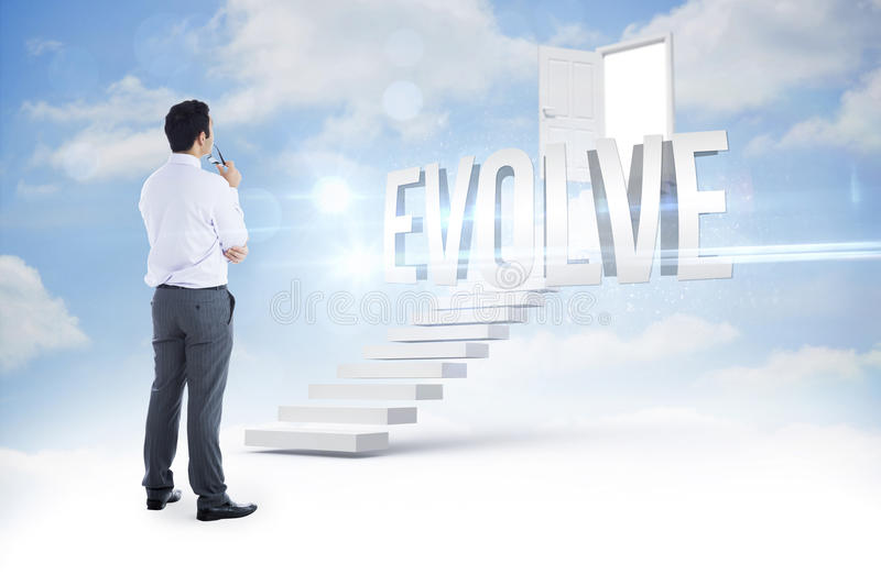 Evolve against steps leading to open door in the sky stock photos