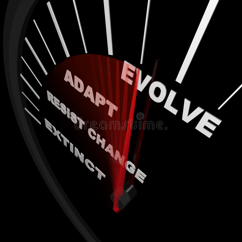 Evolve - Speedometer Tracks Progress of Change stock illustration
