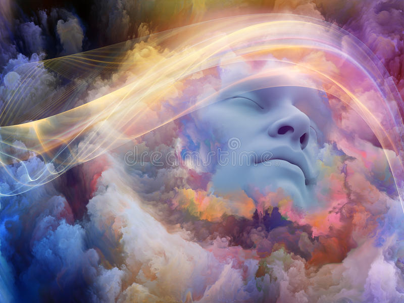 Evolving Dream. Lucid Vision series. Backdrop of human face and colorful fractal clouds on the subject of dreams, mind, spirituality, imagination and inner world stock illustration